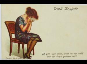 """""""Neujahr, Frauen, Weinen, Scherzkarte"""" 1900 ♥ (15429)"""