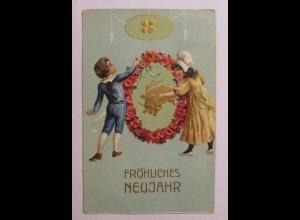 """""""Neujahr, Kinder, Schwein, Kleeblatt, Biedermeier"""" 1912, Prägekarte ♥ (40286)"""