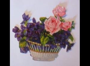 Oblaten, Blumen, 1900, 7 cm x 6,5 cm ♥ (7972)