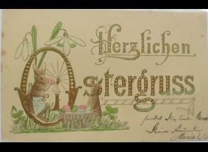 Ostern, Osterhase,Ostereier, Schneeglöckchen, 1902,Golddruckprägekarte ♥ (4368)