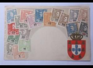 """""""Briefmarkensprache, Portugal Marken"""" 1901, Prägekarte ♥"""