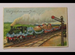 Neujahr, Lokomotive, Münzen, Vergissmeinnicht, 1909, Prägekarte ♥ (40377)