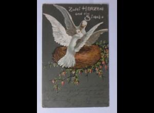 Tauben, Nest, Blumen, Zwei Herzen ein Sinn, 1903, Prägekarte ♥ (63694