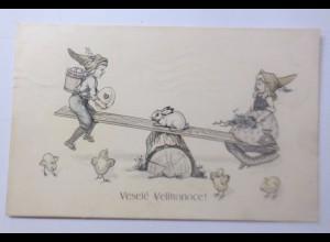 Ostern, Kinder, Zwerge, Wippen, Hase, Küken, 1912, R.F.Wien ♥ (60476)