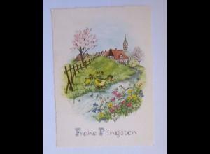 Pfingsten, Landschaft, Dorf, Enten, Vogel, Bach, Blumen, 1960 ♥ (51246)
