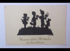 Scherenschnitt, Muttertag, Kinder, Blumen, Hund, 1930, Hugo Kocher ♥ (48864)