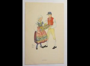 Frauen, Männer, Trachten, Blumen, 1930, Aina Stenberg ♥ (30203)
