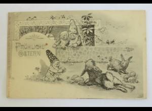 Ostern, Osterhasen, Hasen, Ostereier, 1908, A. Nietze, ♥ (33079)