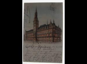 """""""Gruß aus Hamburg, Rathaus"""" 1898, Halt gegen das Licht, Meteor ♥ (32627)"""