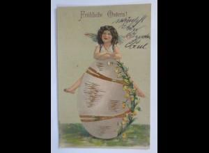 Ostern, Osterei, Engel, Blumen, 1908, Golddruck ♥ (65784)