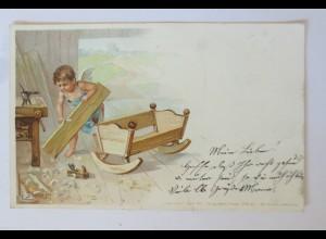 """""""Berufe, Engel, Schreiner"""" 1901, F. Dökert ♥ (34409)"""