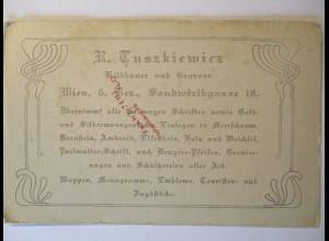 Heraldik, Visitenkarte aus Wien ca. 1900 im Postkartenformat (11628)