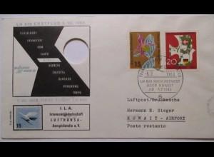 Lufthansa Erstflug LH 648 Düsseldorf Kuweit 1963 Umschlag ausgestanzt