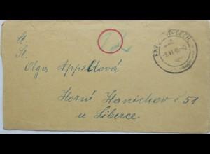 Tschechien, Brief 9.6.1945 Frýdlant v Čechách (Frydland/Böhmen) (8457)