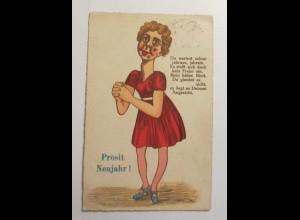 Neujahr, Scherzkarte, Frauen, Muttermale, 1932 ♥ (15635)