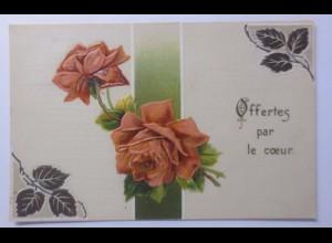 Geburtstag, Blumen, Rosen, 1908, Prägekarte ♥ (56405)