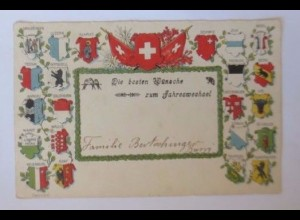 Neujahr, Schweiz, Wappen, 1911, Prägekarte ♥ (52391)