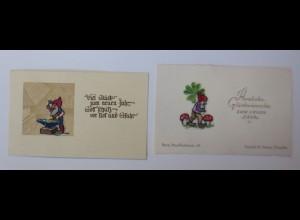Neujahr, 2.Seidenstick Karten, Seidenstickerei, Zwerge, 1920 ♥ (64367)