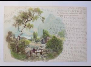 Landschaft, Hütte, Berge, 1900, Glitzerperlen ♥