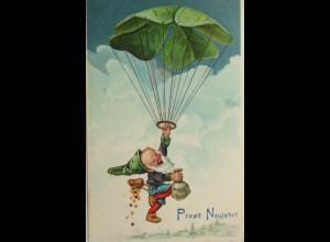 Neujahr, Zwerg, Kleeblatt, Fallschirm, 1902 ♥ (4827)