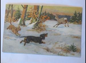 """""""Dackel, Hund, Rehe, Winterlandschaft"""" 1900 ♥ (30678)"""