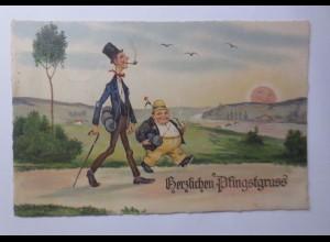 Pfingsten, Männer, Wandern, Sonne, Landschaft, 1937 ♥ (52558)