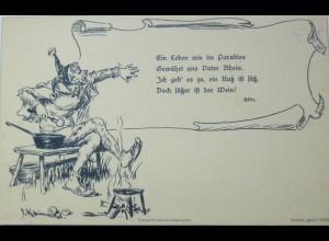 """""""Till Eulenspiegel, Spruch"""" ca.1900, sig. J. Kleinmichel♥ (13994)"""