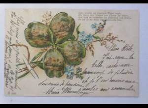 Blumen, Kleeblatt, Spruch, 1900, Glitzerperlen ♥