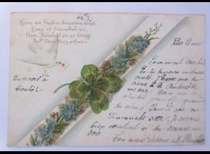 Blumen, Kleeblatt, Taube, Brieftaube 1901, Glitzerperlen ♥