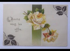 Geburtstag, Blumen, Rosen, 1910, Prägekarte ♥ (56406)