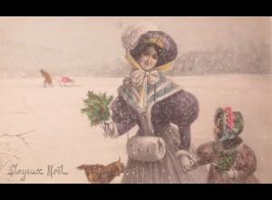 """""""Weihnachten, Frauen, Kinder, Dackel, Muff""""1909, V.K. Vienne 5030 ♥ (20449)"""