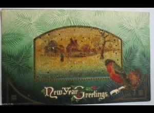 Weihnachten,Vogel, Landschaft, 1905, Glitzerprägekarte ♥ (6518)