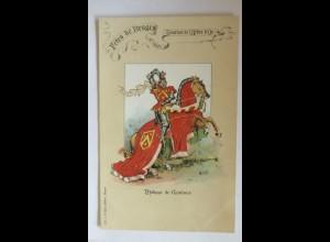 """Ritter, Gruß aus Bruges, Philippe de Domines"" 1910, Litho ♥"