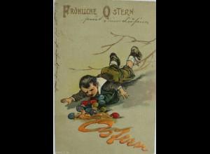 """""""Ostern, Kinder, Ostereier, Gefallen"""" 1903, Prägekarte ♥ (8018)"""