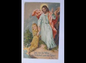 """""""Religion, Kinder, Jesus, Ich bin der Weg"""" 1908, Prägekarte ♥"""