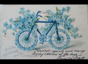 """""""Namenstag, Blumen, Fahrrad"""" 1905, Prägekarte ♥"""