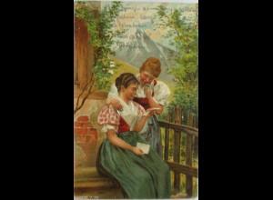 Geburtstag, Frauen, Trachten, Berge, Brief, 1902, Prägekarte ♥ (1864)