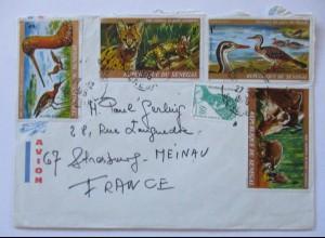 Senegal Luftpostbrief 1976 mit 5 Werte (55880)