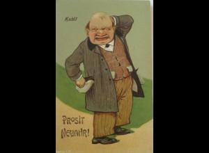 Neujahr, Scherzkarte, Männer, Kahl, 1930 ♥ (18502)