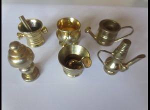 Puppenstuben, Zubehör, Geschirr, Metall, Messing, für die Puppenküche ♥