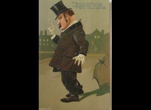 """""""Scherzkarte, Männer, Betrunken"""" 1907, Prägekarte ♥"""