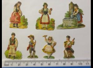"""Frauen, Männer, Mode"""", 7 Alte Oblaten 1900 ♥ (42921)"""