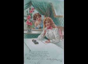 Valentinstag, Kinder, Engel, Brief,1902, Golddruck ♥ (12303)
