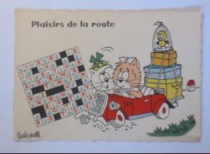 Karikatur Barberousse, Katze, Auto, 1960 ♥