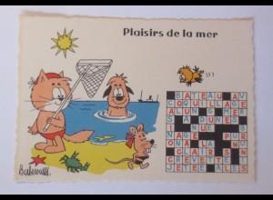 Karikatur Barberousse, Katzen, Maus, Vogel, Meer, 1960 ♥