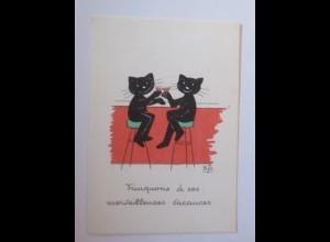 Karikatur, Biz, Katzen, Bar, Cocktail, 1960 ♥