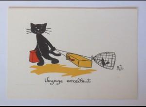 Karikatur, Biz, Katzen, Reisen, Koffer, Vogel, Käfig, 1960 ♥