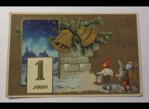 Neujahr, Glocken, Kalender, Zwerge, Spielzeug, 1911, Golddruck ♥ (44037)