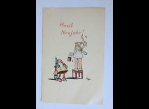 Neujahr, Kinder, Zwerg, Malen, 1930 ♥ (28497)