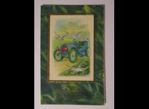 Geburtstag, Auto, Tauben, Kleeblatt, 1911, Golddruck ♥ (32864)